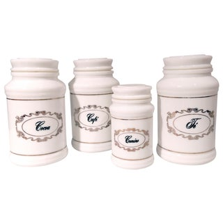 Vintage Spanish Milk Glass Canisters - Set of 4