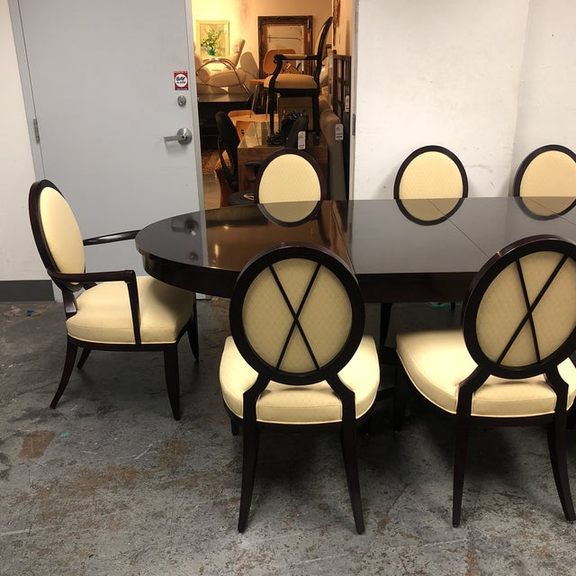 Barbara Barry Oval Dining Table & 8 Chairs for Baker - Set of 9 - Image 7 of 8