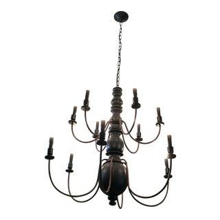 Wood & Dark Rust Metal 12-Light Chandelier