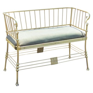 Regency Style Brass Rope Upholstered Bench