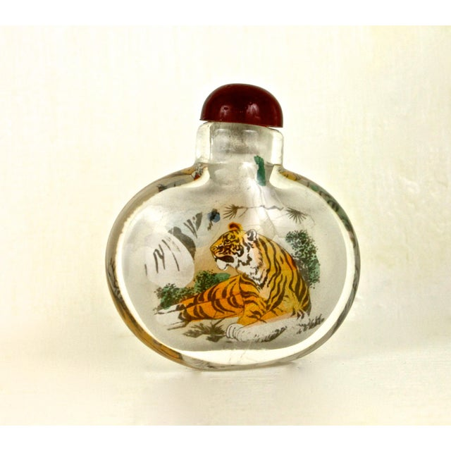 Asian Art Glass Painted Bottle - Image 2 of 6