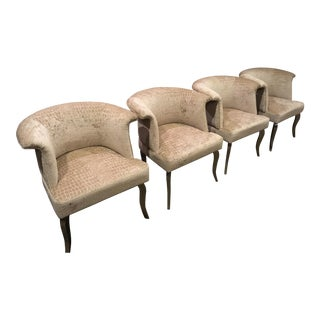 Champagne Velvet Club Chairs - Set of 4