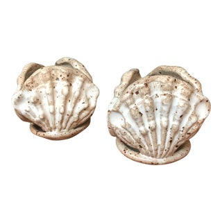 Ceramic Seashell Candle Holders - A Pair