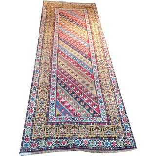 Antique Persian Kurdish Runner Rug With Caucasian Genge Pattern - 3' x 9'3""