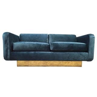 Mid-Century Brass & Blue Velvet Love Seat Sofa