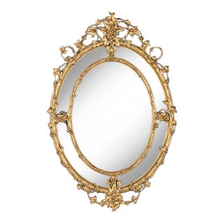 Huge Antique French Wine Estate Oval Mirror circa 1875 (42″ wide x 63″ high)