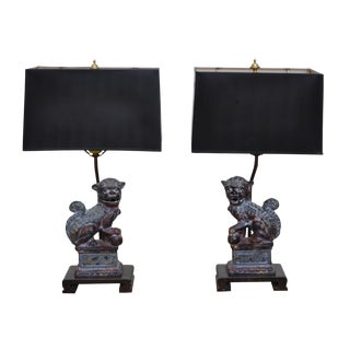 Frederick Cooper Bronze Foo Dog Lamps - A Pair