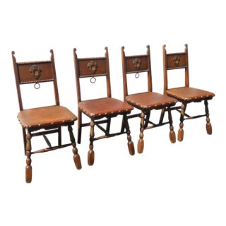 Vintage Spanish Revival Style Oak Dining Chairs W Decorative Clavos Nails - Set of 4