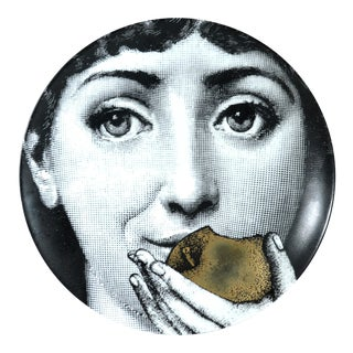 Fornasetti Gold Tema E Variazioni Plate, Number 360, the iconic image of Lina Cavalieri
