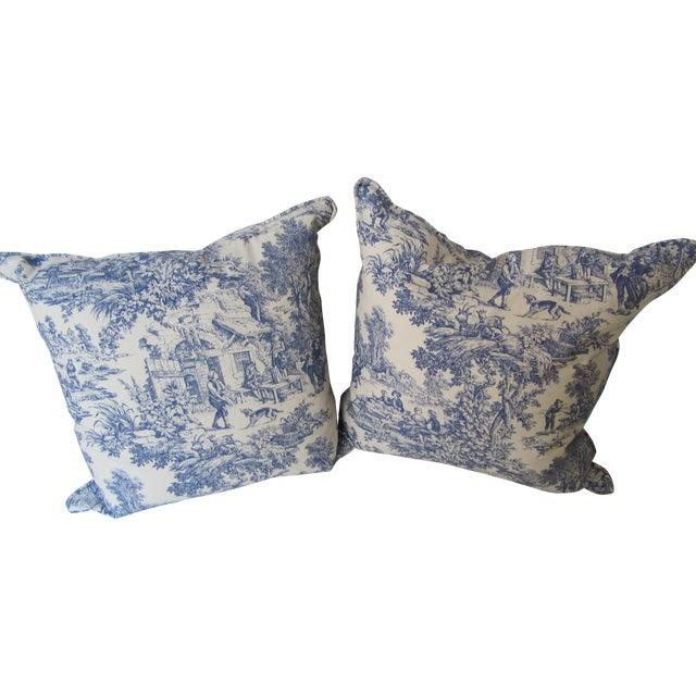Blue & White Toile De Jouy Pillows - A Pair - Image 1 of 9
