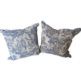 Blue & White Toile De Jouy Pillows - A Pair