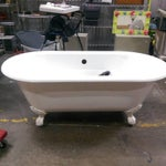 Image of White Vintage Clawfoot Cast Iron Bathtub