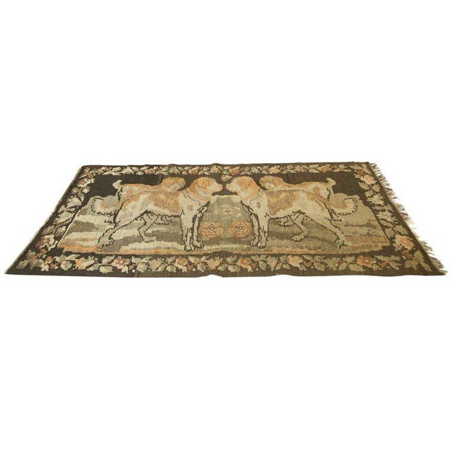 Russian Brown Kilim with Dogs - Image 6 of 6