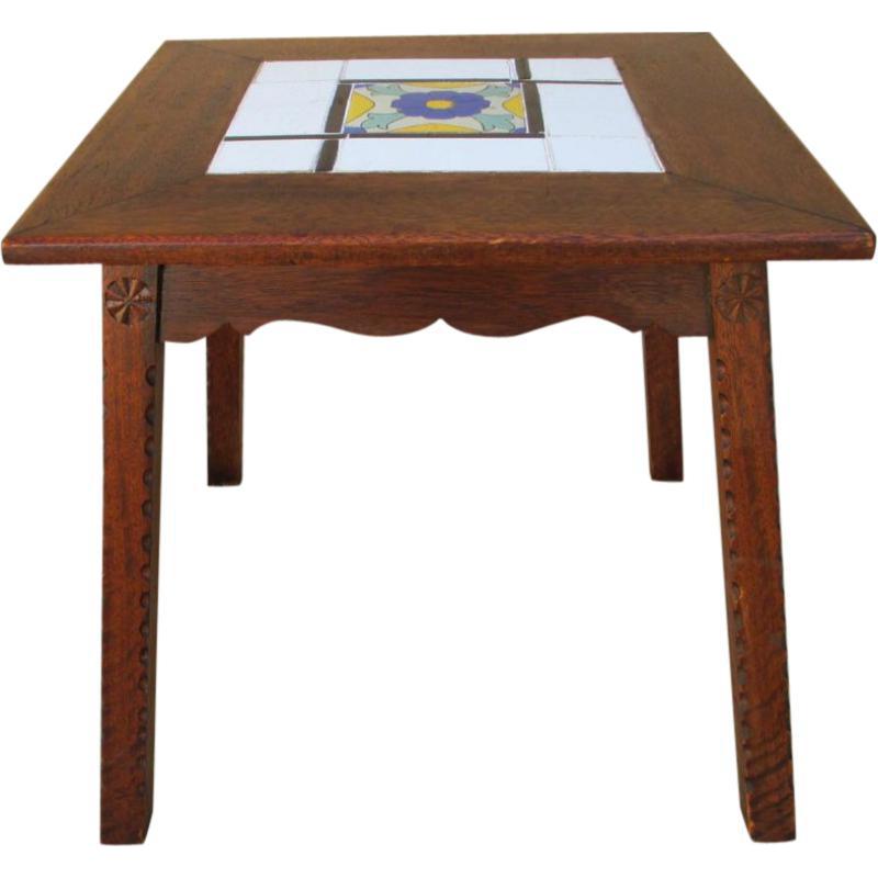 Antique Mission Spanish Tile Top Accent Table