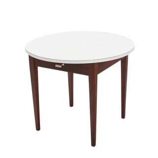 Nice Oiled Walnut Base Round Laminated Top Side Table