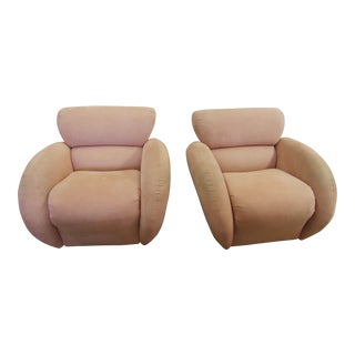 70's Modern Upholstered Swivel Accent Chairs - A Pair