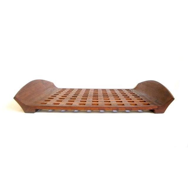 Dansk Teak Lattice Tray With Glass Dish Inserts - Image 4 of 6