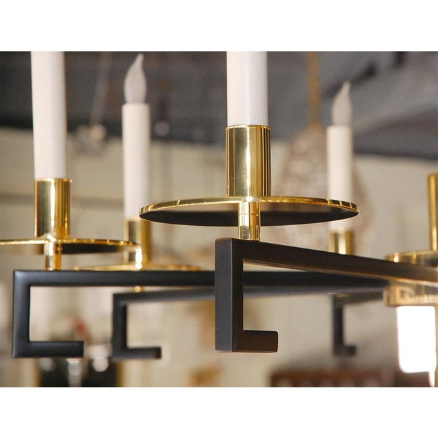 Customizable Paul Marra Design Greek Key Chandelier in Brass - Image 8 of 8