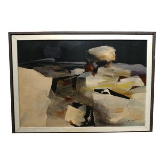 """C.1961 Alexander Nepote """"Rock On the Edge"""" Abstract Modernist Painting"""