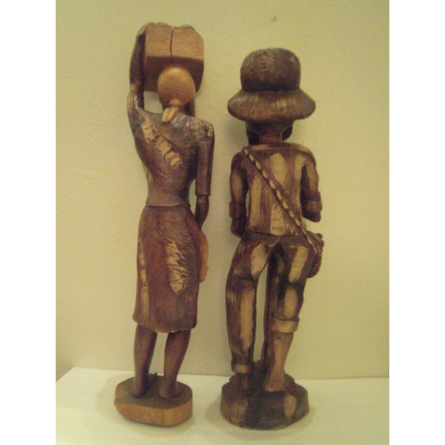 Vintage Wooden Carved Figures - Pair - Image 5 of 11