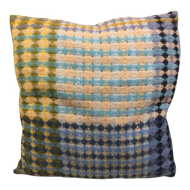 Image of Missoni Blue & Yellow Wool Pillow
