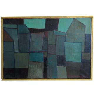 Modern Abstract Cubist Oil on Canvas