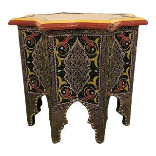 Ebony Inlaid Star-Shaped End Table or Footstool
