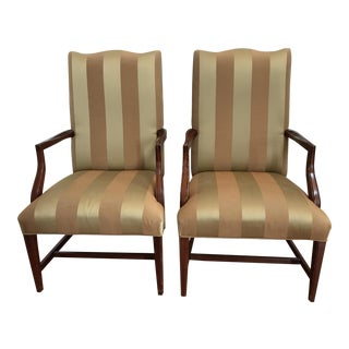 Ethan Allen Martha Washington Taupe & Golden Striped Armchairs - A Pair