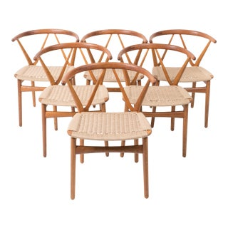 Set of Six Model 255 Teak Dining Chairs by Henning Kjærnulf for Bruno Hansen