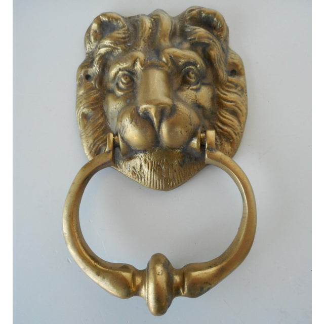 Vintage Brass Lion Head Door Knocker - Image 2 of 8 - Vintage Brass Lion Head Door Knocker Chairish