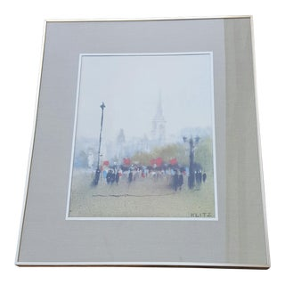 Mid-Century Anthony Klitz London Street Scene Print