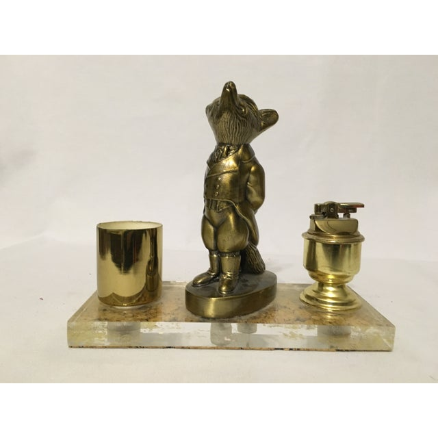 Image of Brass Fox Cigarette and Lighter Set