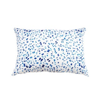 "Scattered Indigo Petals Linen Pillow - 16"" X 24"""