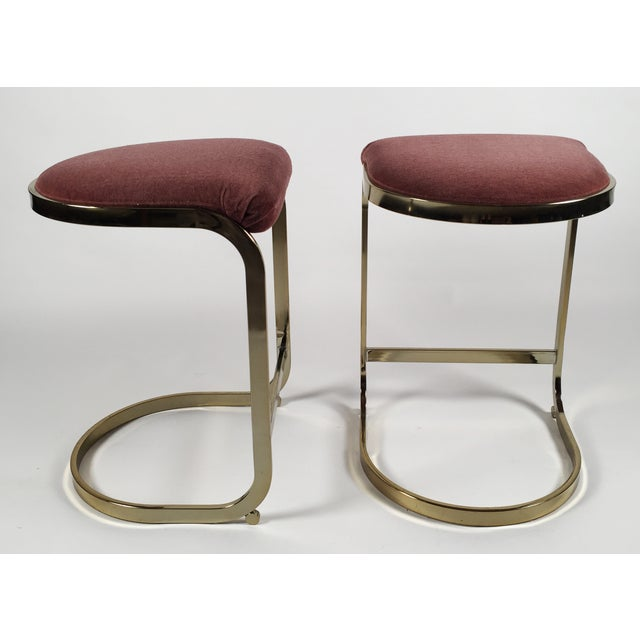 Milo Baughman Style Cantilever Bar Stools - A Pair - Image 6 of 7