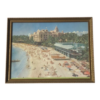 Mid-Century Waikiki Beach Hawaii Framed Print