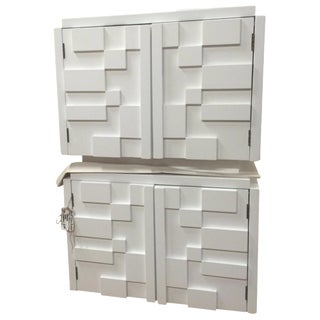 Lane White Brutalist Nightstands - A Pair