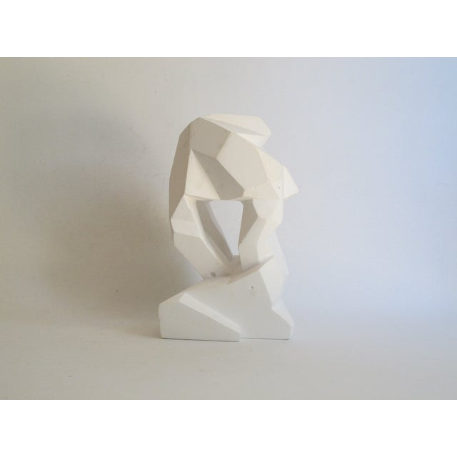 Abstract Cubist White Plaster Statue - Image 6 of 11