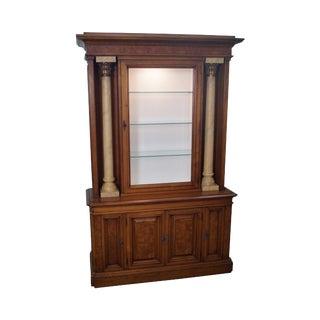Karges Burl Walnut Corinthian Column Display Cabinet