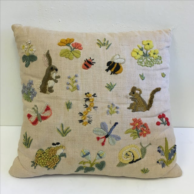 Vintage Insects & Animals Needlepoint Pillow Chairish