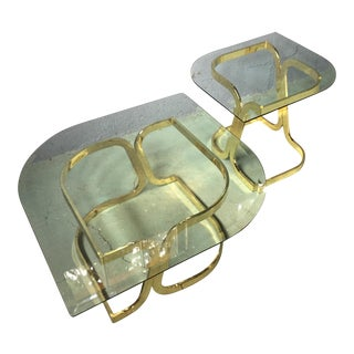 Gold Chrome and Glass Coffee and Side Table - a Pair