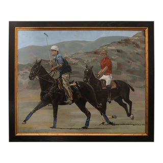 "Jack Martin Smith ""Polo Players & Ponies"" Oil on Panel Painting"