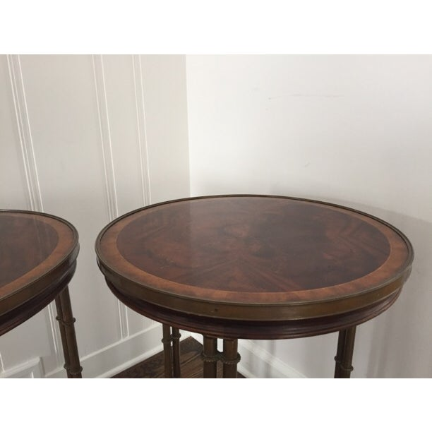 Image of Mahogany Finished Round Side Table - Pair