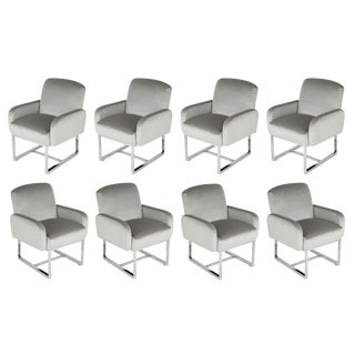 SET OF 8 MILO BAUGHMAN FOR THAYER COGGIN DINING CHAIRS ON WHEELS, CIRCA 1980S