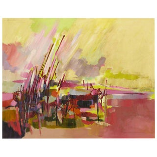 "Amethyst & Yellow Abstract Oil On Canvas Titled ""Everglades"""