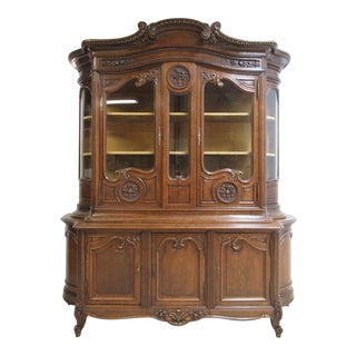 Antique Tiger Oak French Carved China Cabinet