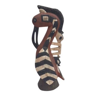Vintage African Tribal Carved Wood Bird Hornbill Sacred Statue