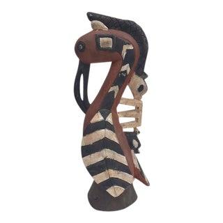 Vintage African Tribal Carved Wood Bird Hornbill Sacred Statue