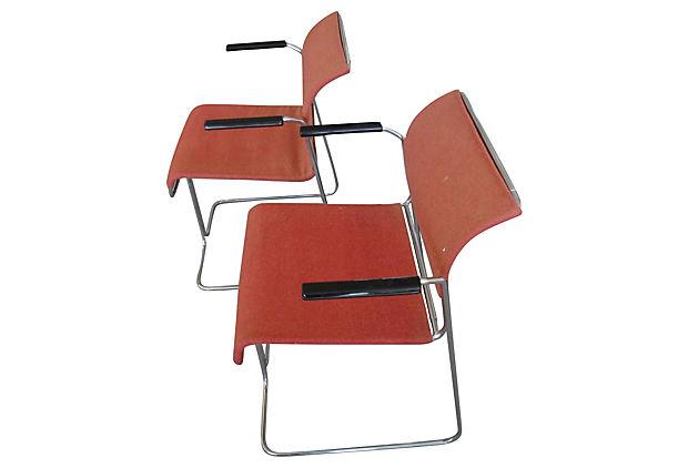 Delightful Harter Mid Century Modern Red Chairs   A Pair   Image 5 Of 5
