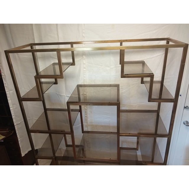 mid century italy bronze metal etagere with bronze glass. Black Bedroom Furniture Sets. Home Design Ideas