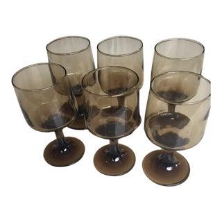 Vintage Amber Glasses - Set of 6